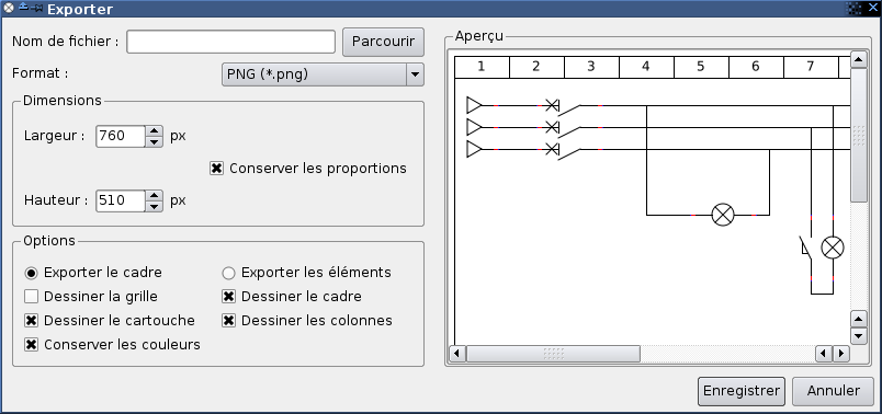 Interface d'export vers une image de QET